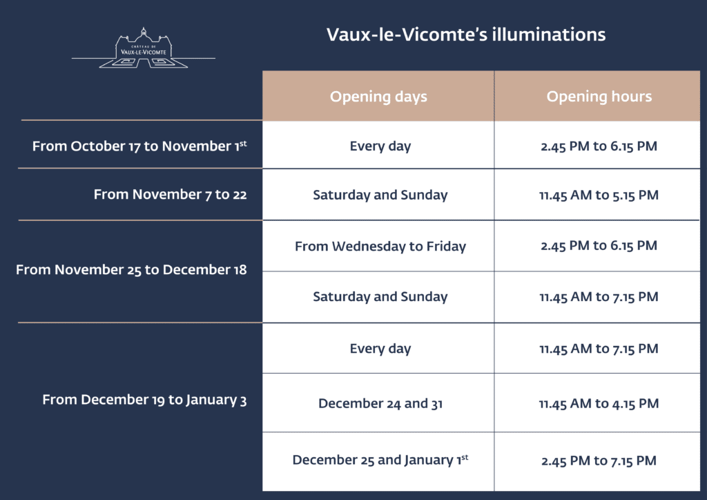 Dates and hours Vaux-le-Vicomte's illuminations
